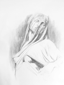 "Drawing of ""Veiled Truth"" - original statue by Antonio Corradini located in Cappella Sansevero in Naples, Italy"