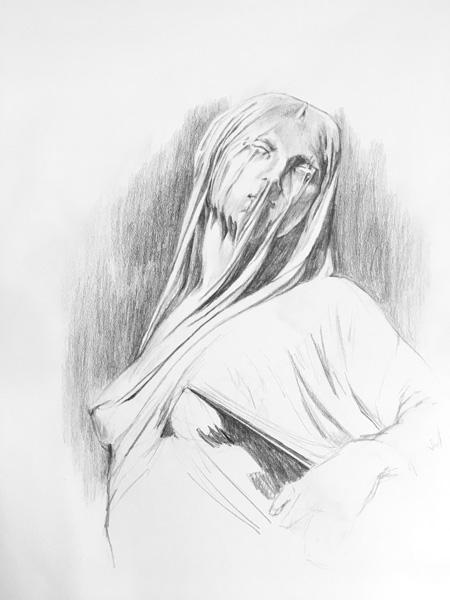"Drawing of ""Veiled Truth"" - original statue by Antonio Corradini located in Cappella Sansevero in Naples, Italy"