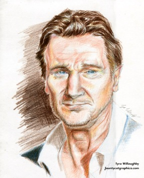 """Liam Neeson"" - color pencil drawing"