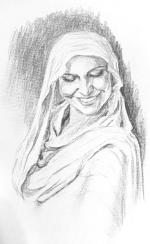 """""""Veiled Woman Smiling"""" - graphite drawing"""