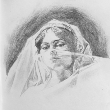 """""""Veiled Woman"""" - graphite drawing"""