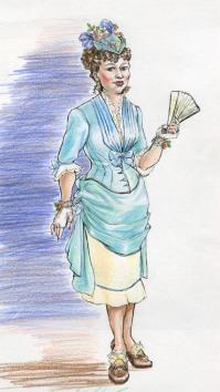"""Fashion Plate"" - mixed media drawing"