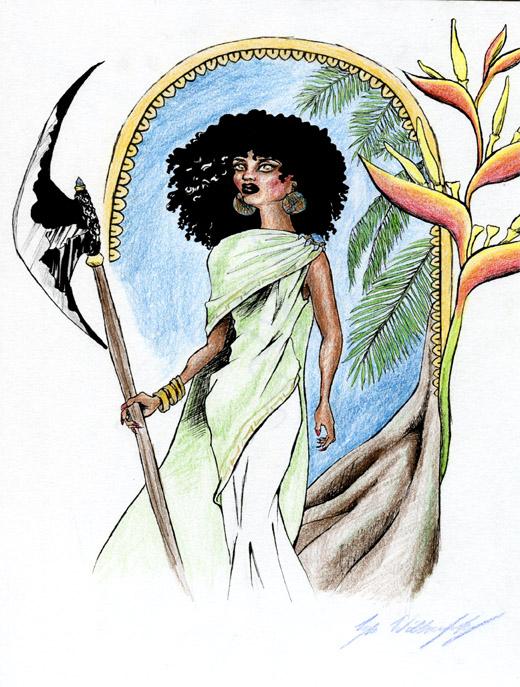 """""""Warrior Princess"""" - mixed media drawing"""