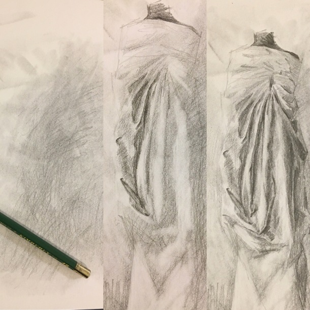Progression of a drapery study