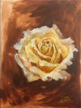 """Yellow Rose Study"" Oil on Canvas 5x7"